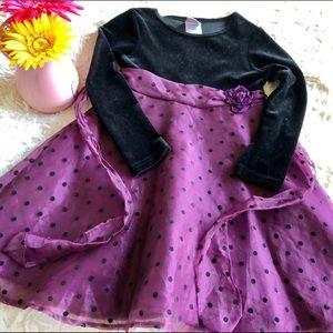 Girls Elegant Velour  Blk/Deep Plum Dress